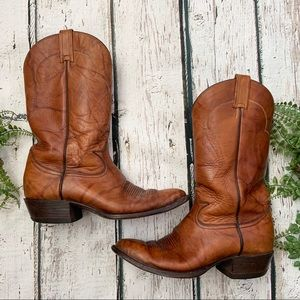Tony Lama Brown Men's Size 9 Leather Cowboy Boots
